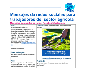 Essential Workers in Agriculture Social Media Graphic Posts — Spanish