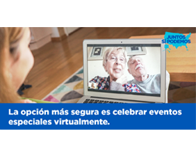 To Slow the Spread, Celebrate Special Events Virtually! Graphic for Twitter — Spanish