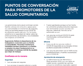 Talking Points for Community Health Workers — Spanish